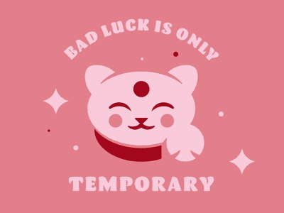 Good Luck Cat illustration lucky good luck cat