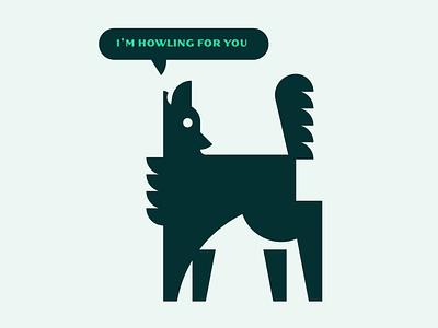 Howlin' geometric howl wolf dog illustration