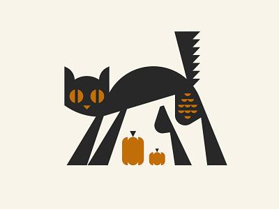 Black Cat pumpkins animal fall holiday halloween cat