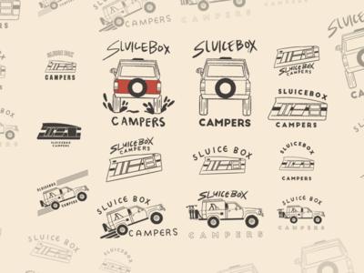 Sluicebox Logo mountains bikes camping logo design simple retro nature outside campers trucks logo adventure