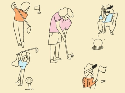 Golf outdoors sunny summer golfer oddbodies simple sports golf