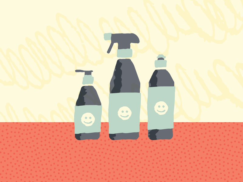 Happy cleaners covid19 texture happy soap kitchen cleaning clean retro illustration simple