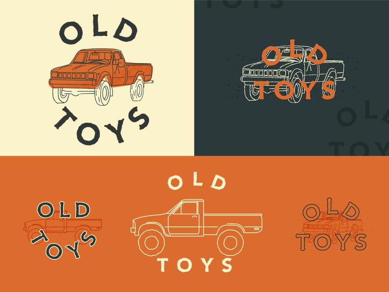 Old Toys rigs restoration 4runner pickup truck hilux tacoma trucks toyota adventure design logo branding retro illustration simple