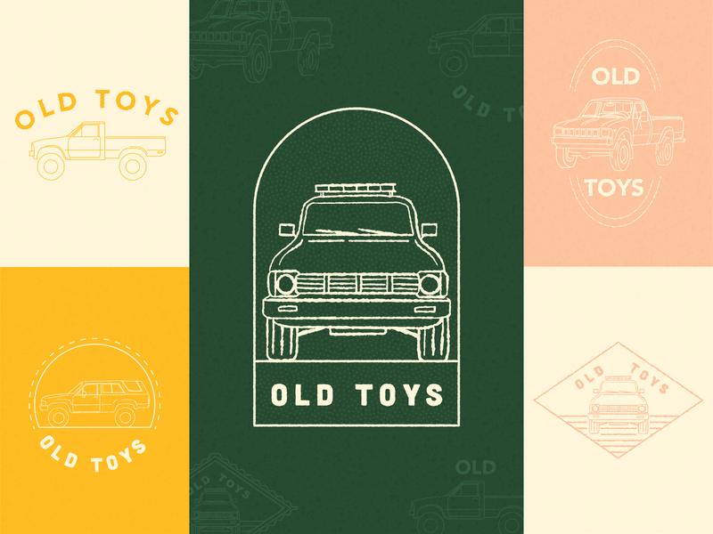 Old Toys typography 4runner sunrise sunset badgedesign toyota tacoma trucks texture vector adventure branding outdoors retro illustration simple