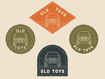 Old Toys badgedesign vintage trucks toyota truck texture illustration retro outdoors branding design logo