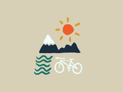 Get outside mountain bike mtb bike bike outdoors summer adventure simple illustration