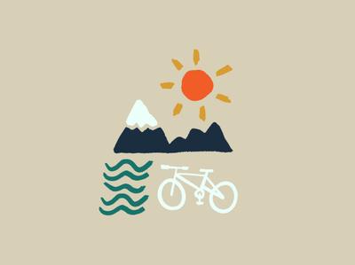 Get outside mountain bike mtb bike bike outdoors summer adventure simple illustration