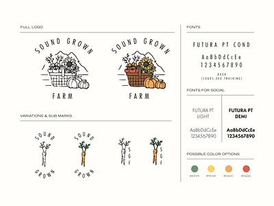 Sound Grown Farms pacific northwest outdoors farmers market food nature farms grow farm logo plants branding retro illustration