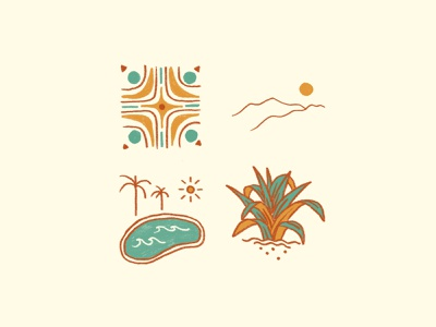 Palm Springs mcm outdoors retro simple illustration succulent aloe palm springs sunny tile pool hot desert palmsprings