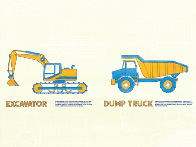 Construction site rocks dirt tools construction trucks summer outdoors simple illustration