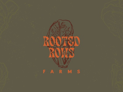 Rooted Rows organic outdoors logo logobranding grow summer outdoor farms veggies lettuce rooted farm design adventure simple retro illustration