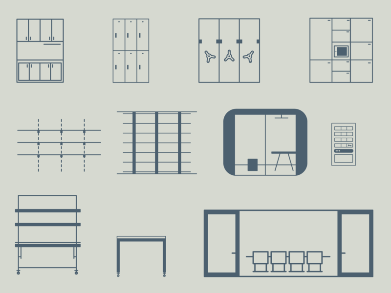 Furniture Icons ux linework monoline simple officer furniture design icons furniture
