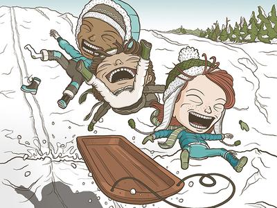 Let's Go Sledding! fun sled jump snow sledding child kid character illustration cartoon