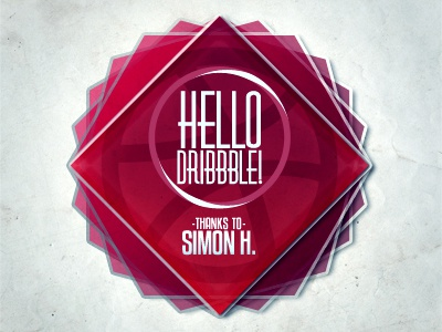 Hello Dribbble ! typography red grungy thanks dribbble
