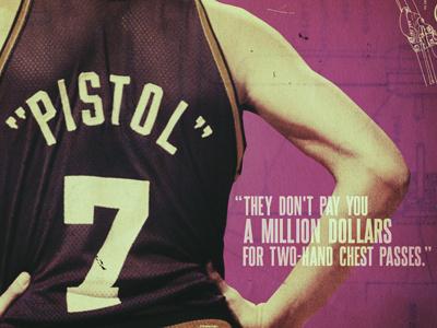 Pistol Pete basketball typography grungy pink pistol nba