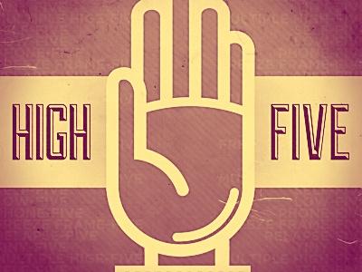High Five! purple grungy vintage retro high five
