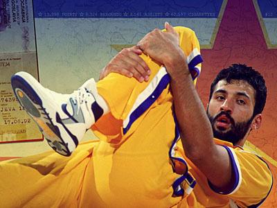 Vlade nba vlade divac basketball vintage yellow lakers yugoslavia passport