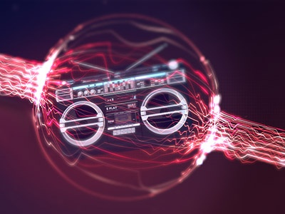 Boombox music boombox red purple form trapcode 3d motion design