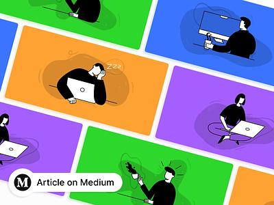 Illustrations for my medium article ✒ design doodles instagram presentation designer copywriter figma colors illustrator sketch coronavirus remote work medium article illustration