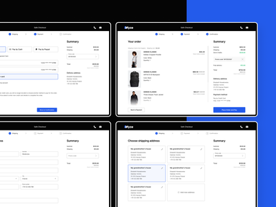 Checkout flow on E-commerce 💳 webdesigns payment method payment form address book woocommerce shopify progress bar mobile ui mobile checkout mobile myze e-commerce flow checkout flow checkout webdesign ux ui