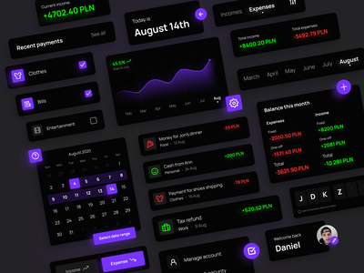 UI Components for finance app account shadows app mobile app ui  ux chart calendar cards button category data picker payments ui user interface ui elements ui components