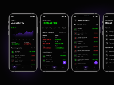 Expense management app mobile app charts reset password sign up finance app calendar date picker dark mode minimal ui ux filters payments overview account banking income expense finance