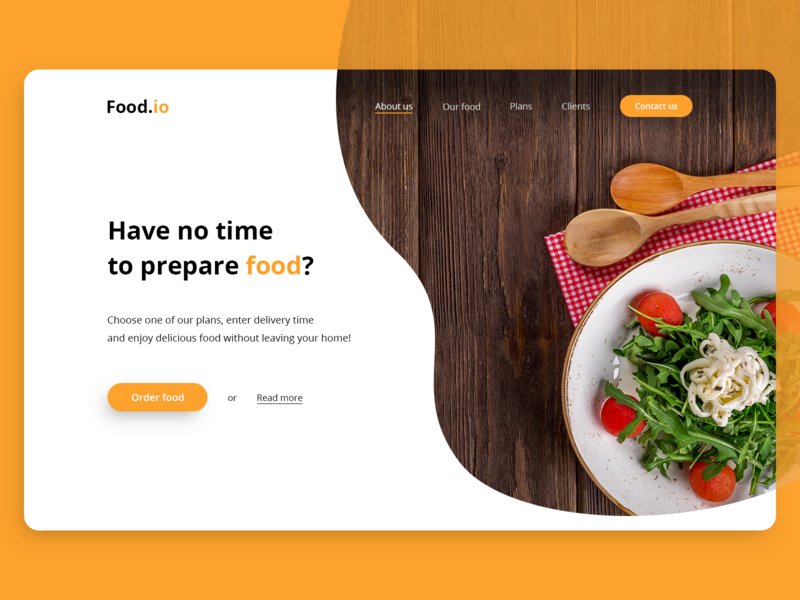 Food.io - Landing page for food service 🥗 hero web type scale contact us delivery pyszne buttons hero banner hero design hero read more food app cta mobile grid home landing webdesign design ux ui