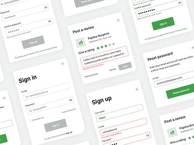 🥙 Modals for FoodScout modals dialogue app modal window food pop up review reset forgot password sign in sign up button modal grid cta landing webdesign design ux ui