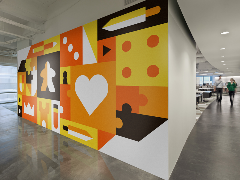 🎲 Office Mural - Boardgames in da house icon shapes icons tower meeple dice orange games boardgames wall grid background wallpaper office mural illustrator illustration