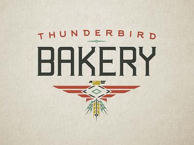 Thunderbird Bakery Logo vintage rustic local small business bakery logo birdlogo thunderbird branding identity logo