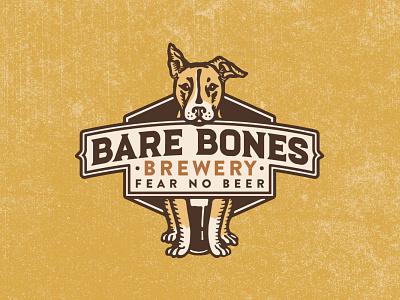 Bare Bones Brewery Logo logo badge logo crest crest vintage badge vintage dog vintage retro dog dog cartoon dog illustration illustration illustrator retro dog logo branding logo