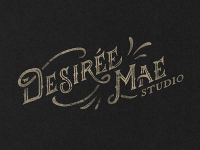 Desiree Mae Studio Logo hand lettering logotype wordmark procreate type texture distress branding typography rustic hand drawn logo vintage logo vintage custom letering logo design hand drawn logo