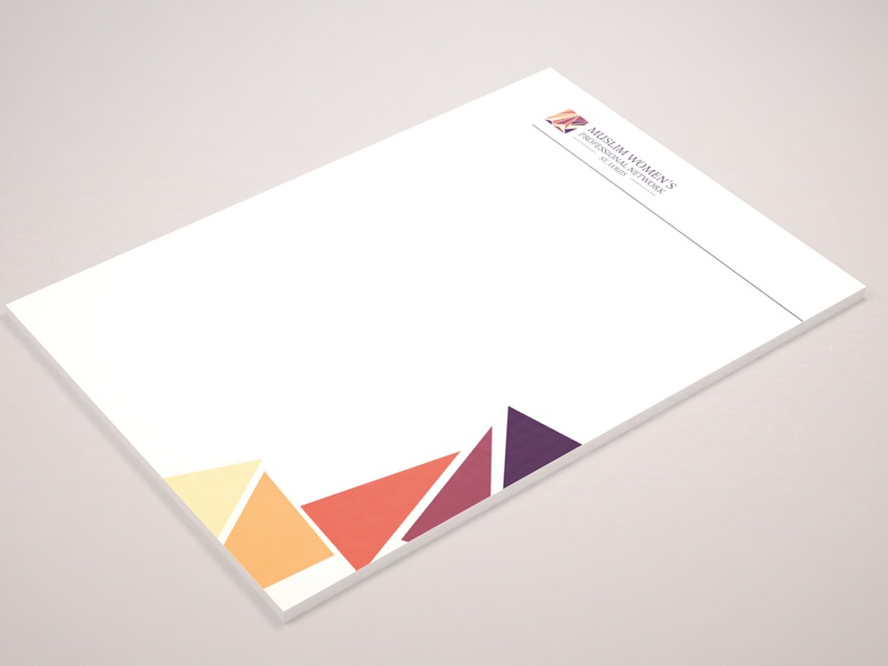 MWPN Letterhead Design identity designer identity design identity branding stationery colorful triangles nonprofit probono letterhead muslim woman muslim brand branding