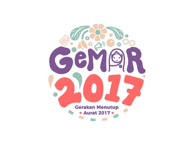 Event : Gemar 2017 Logo event girly happy character hijab mascot illustration mark branding icon smile cute