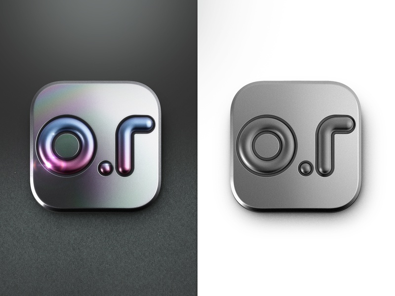 Icon o.r metal app ui logo c4d illustration photoshop 3d icon design