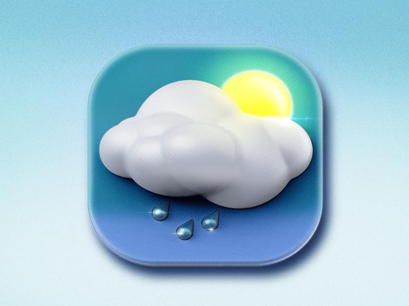 Icon Weather sun rain typography metal app logo ui icon design c4d illustration 3d icon photoshop design