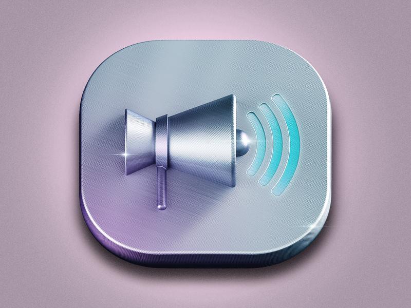 Icon Loudspeaker loudspeaker typography metal logo app ui icon design c4d illustration 3d icon photoshop design