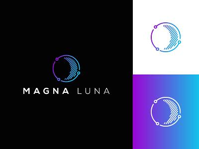 Magna Luna artificial intelligent luna moon technology clean flat modern graphic design logo design minimal logo branding brand design