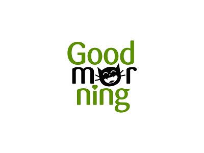Good Morning cartoon cute cat drink food typography clean modern graphic design logo design minimal logo branding brand design