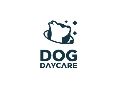 Dog DayCare universe care puppy planet stars space negative space dog typography flat clean modern logo design graphic design logo minimal branding brand design