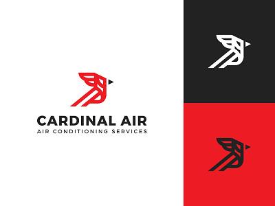 Cardinal services condition air bird cardinal flat clean modern logo design graphic design minimal logo branding brand design