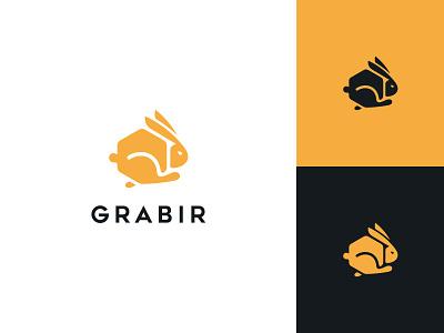 Grabir running fast rabbit order box food technology typography flat clean modern logo design graphic design minimal logo branding brand design