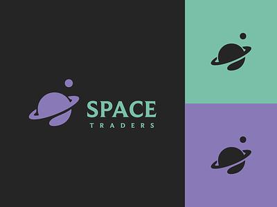 Space Traders vector minimal branding brand design graphic design crypto trade trading planet saturn space logo design logo