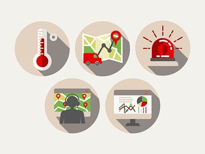 Icon set analytics statistics alarm temperature vector graphics vector illustration map vehicle mobile app icon design iconography icons icon set ui designer ui desgin telematics geolocation geographic icon app design
