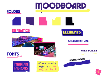 Moodboard - colors, inspiration, elements and fonts moodboards young smashed marvin visions font inspiration art fun branding typography photoshop design creation palette color moodboard