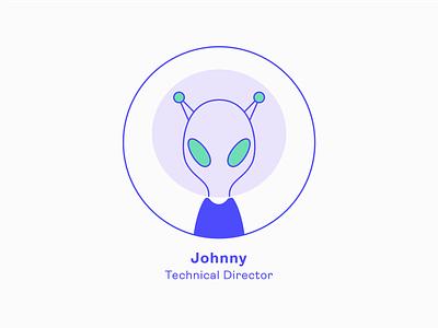 Design Team | Johnny - Technical Director team alien profile icon series illustration charachter