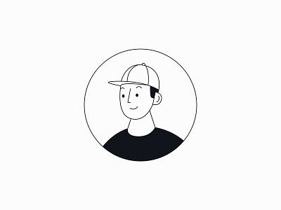 Monotone Avator boy cap illustration human profile ui avatar icons avator charachter