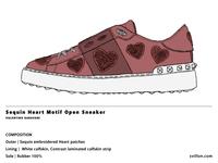 Sequin Heart Motif Open Sneaker