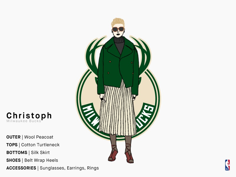 Christoph | Milwaukee Bucks milwaukee milwaukee bucks bucks green daily illustration sports basketball nba illustration girl series charachter