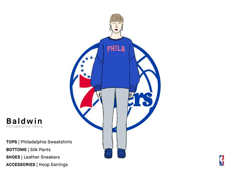 Baldwin   Philadelphia 76ers & 1 invites philadelphia 76ers philadelphia 76ers dribbble invite sports girl basketball nba illustration series charachter